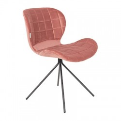 Chaise OMG velours vieux rose