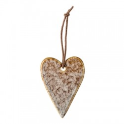 Décoration de sapin de noël, coeur en céramique marron
