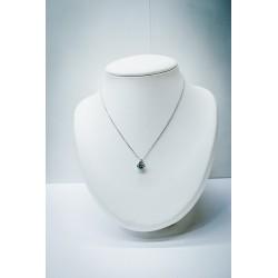 Collier Or Blanc - Aigue Marine & Diamants